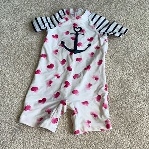 Baby One Piece Anchor and Heart Bathing Suit 12-18